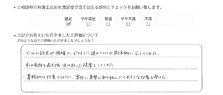 名古屋法律事務所に離婚問題をご相談いただいたお客様の声